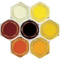 Honey Colors; clockwise from the upper left - water white, extra white, white, extra light amber, light amber, amber; center is dark amber